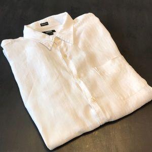 J. Crew tailored fit, Irish Linen shirt. White, L.